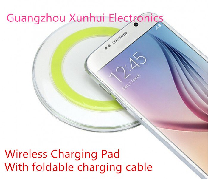 Qi-enabled Wireless Charging Pad with Foldable Charging Cable Inside Wilress Charger