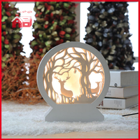 Round Glass Decoration with Plastic Frame Forest Scene Wholesale Shadow Box Frame LED Decoration