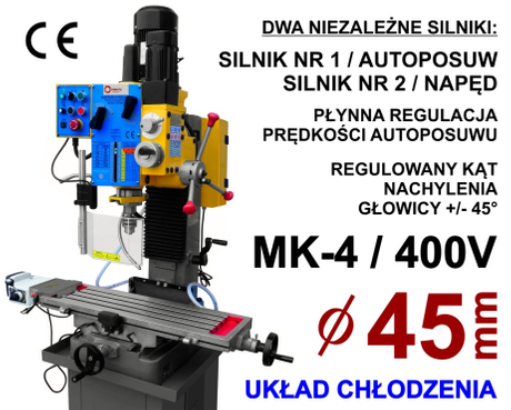 FULLY INDUSTRIAL DRILLING MACHINE Gear Head Auto - Feed Drilling & Milling Machine ZX7045C