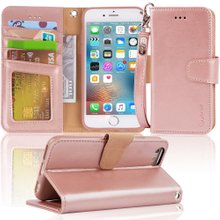 Iphone 6s / 6 New Sytle Wallet Leather Case with Kickstand And Card Slots The Upgraded Version Wallet Case for Iphone 6s / 6,rosegold