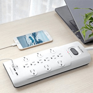 HOLSEM Surge Protector 12 Outlets with 3 USB Ports 6 ft cord Power Strip, White