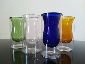 Double wall glass tumbers,glass coffee mug,borosilicate glass,food grade,lead and BPA free,colorful glass inside