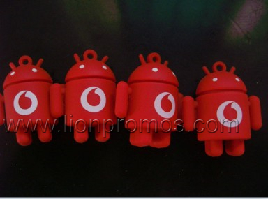 Custom Logo Shape PVC Mobile Android Robert Silicone Mobile Lanyard