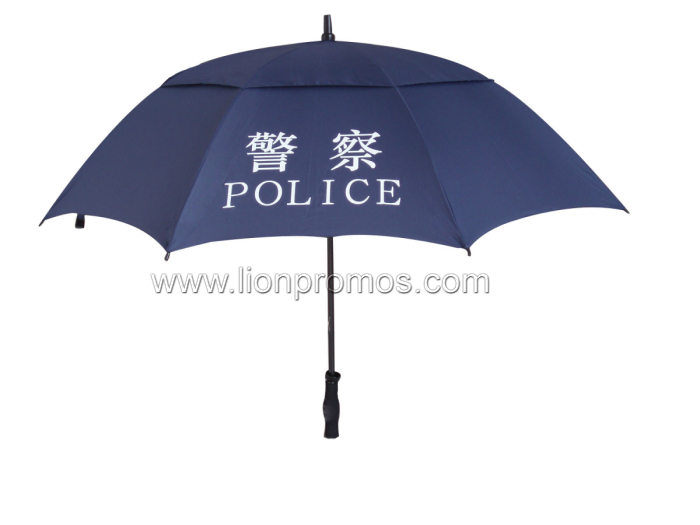 Government Police Office Staff Fiberglass Two Layers Wind Proof Golf Umbrella