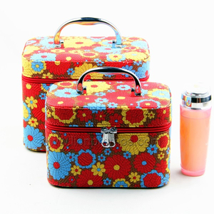 Women Gift PU Leather Fashion Flower Pattern Cosmetic Box
