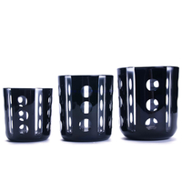 luxury hand engraved black set of 3 glass candle containers