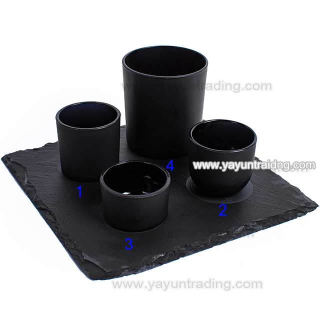black glass candle jar