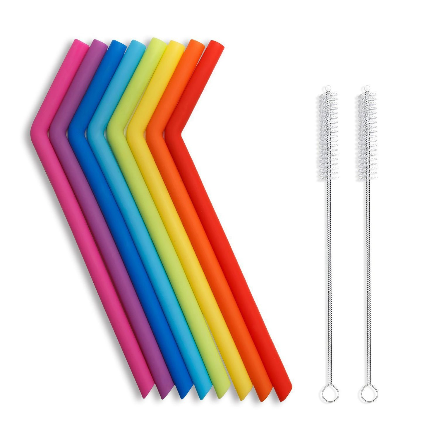 Amazon Hot sale 2018 BPA Free Reusable Drinking Straw FDA Silicone Straws 6 Packs with 2 Brushes Silicone Drinking Straw