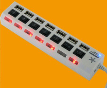USB 2.0 7 Ports Hub with Switch for Each Port Style No. Hub-712