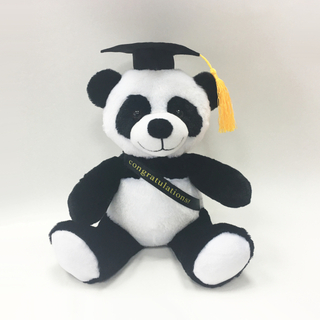 Stuffed Graduation Animal Plush White And Black Panda with Cap