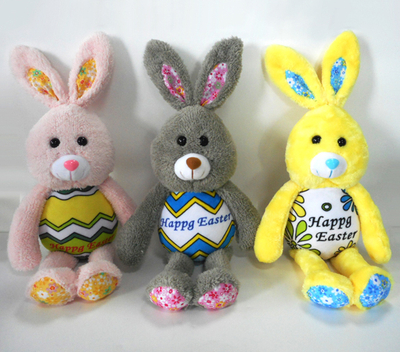 Happy Easter Rabbit Plush Toys with Painted Egg Body