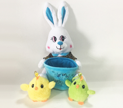 Adorable Easter Soft Plush Blue Rabbit with Baby Toy