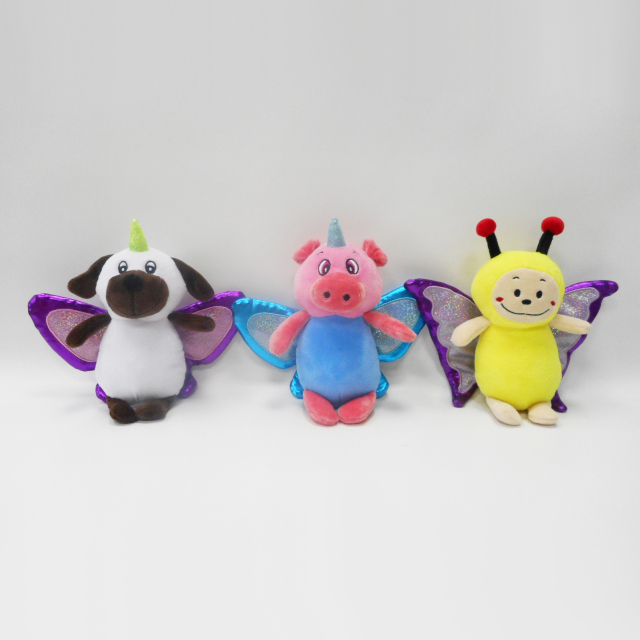 Custom Cute Soft Plush Pig Bear Bee Stuffed Toy with Wings