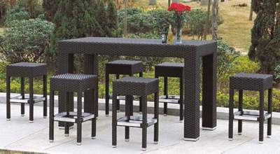 Outdoor Wicker/Rattan 6 Seater Bar Stool Set