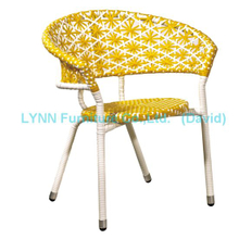 Mixed Color Yellow and White Round Stacking Chair Rattan Chair