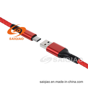 Factory Direct Sale USB3.0 Type-C Leather Braided Charging Data Cable