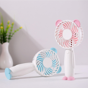 Cute Bear Cartoon USB Rechargeable Hand Held Fan for Outdoor Mini Hand Held Cooling Fan for Office