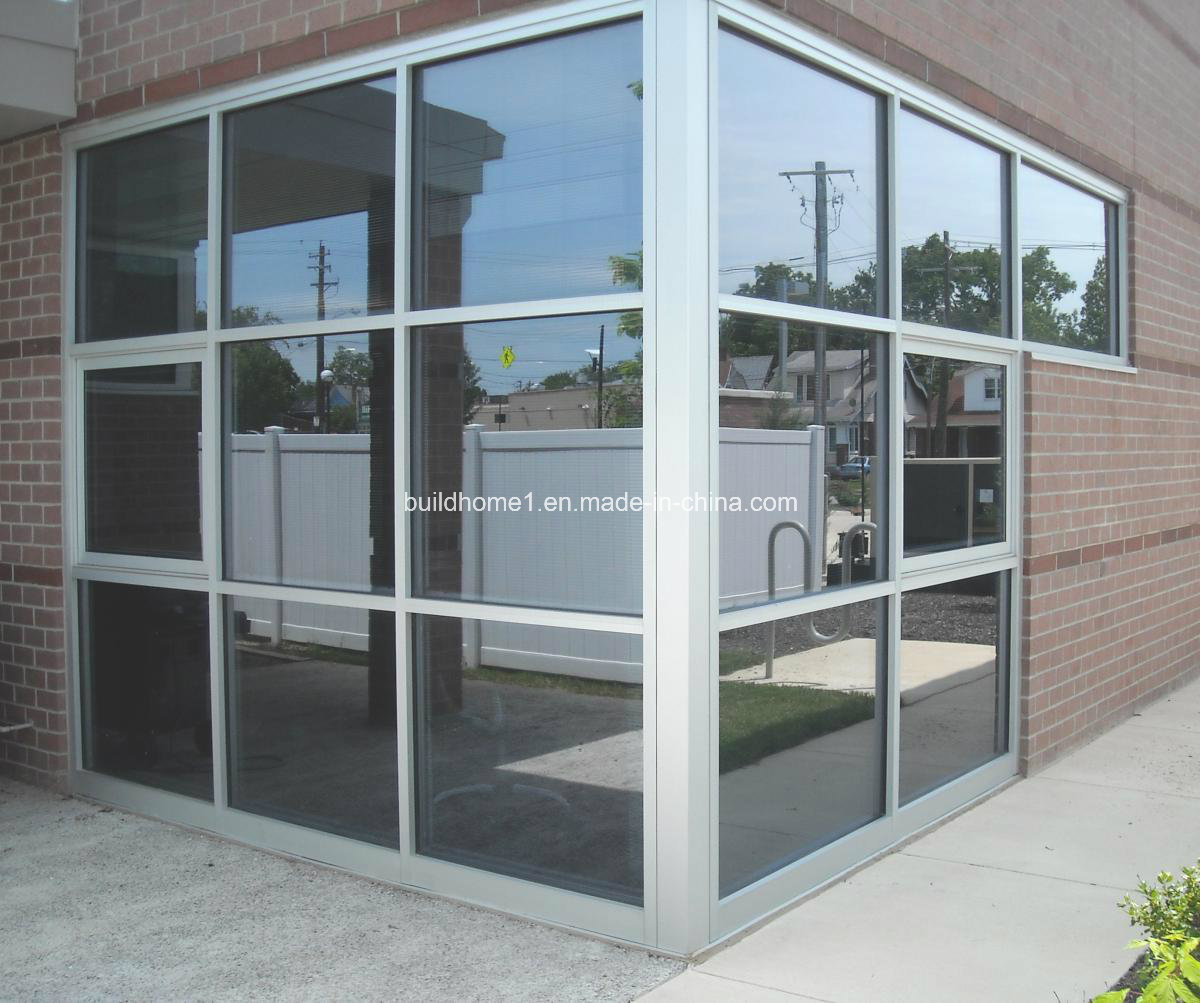 Natural anodized silver aluminium frame glass curtain wall for Aluminium glass windows and doors