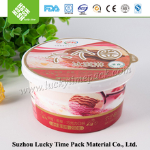 Round disposable plastic container with lid for food