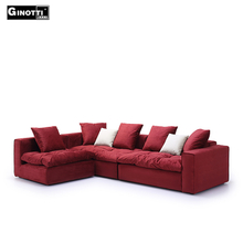 Rose Red Sleeper Corner Very Soft Fabric Sofa Home Furniture Set