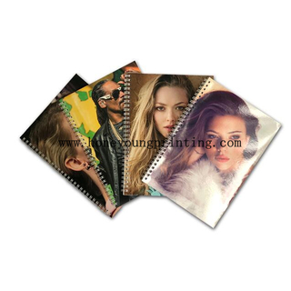 Soft cover double spiral notebook 8mm single line assorted designs with bright lamination
