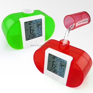 Carbon Pollute Zero Green Water Power Alarm Clock with Weather Temerature Function