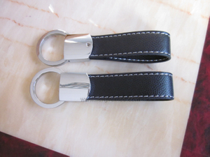 Business Executive Gift Logo Embossed Geniune Leather Keychain