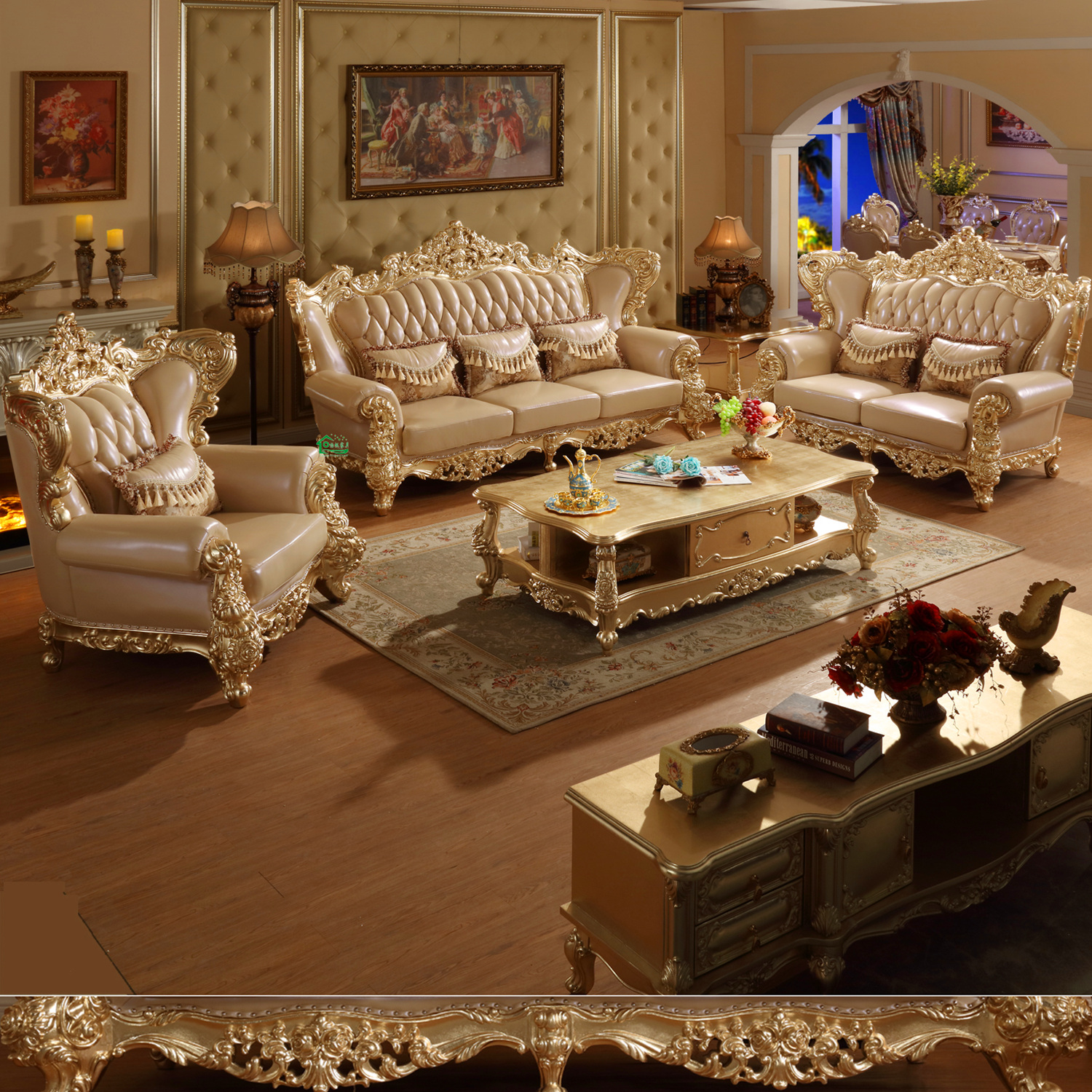Who Buys Furniture: 526 Classic Leather Sofa With Cabinets For Living Room
