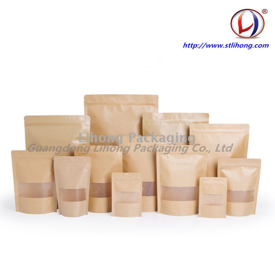 Moisture Proof Stand Up Kraft Bag With Window, Kraft Paper Food Packing Bags With Ziplock