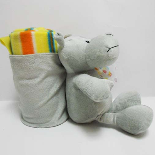 Custom Plush Hippo Shaped Animal Blanket for Kids