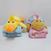 Safe and harmless plush animal cotton baby blanket China baby security blanket with animal toy