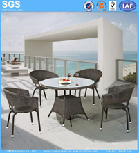 Outdoor Wicker Furniture Round PE Rattan Dining Set Table and Chairs