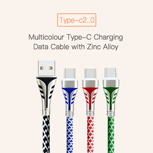 Multicolour Type-C Charging Data Cable with Zinc Alloy
