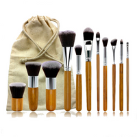 11 Pcs Wool Makeup Brushes Set with Pouch Bag