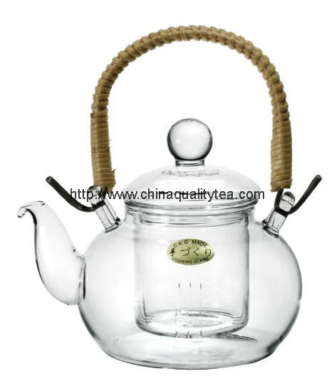 Glass teapot with handle