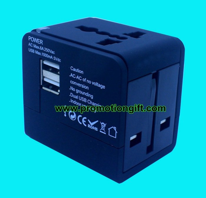Double USB travel adapter