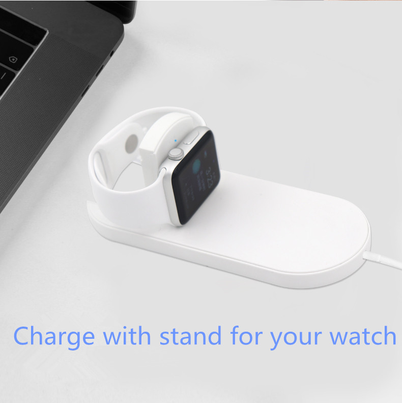 Foldable 2 in 1 Wireless Charger Qi Wireless Charging Pad for Apple Watch 7.5W Fast Wireless Charger for Iphone X