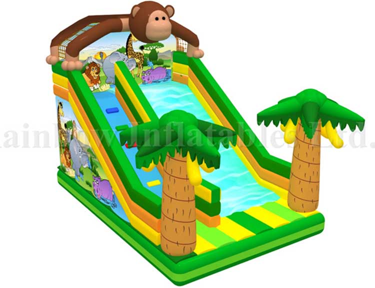 RB01019(8x4m)Inflatable Rainbow New Design Monkey Slide for Kids,Inflatable Animal Theme Slide