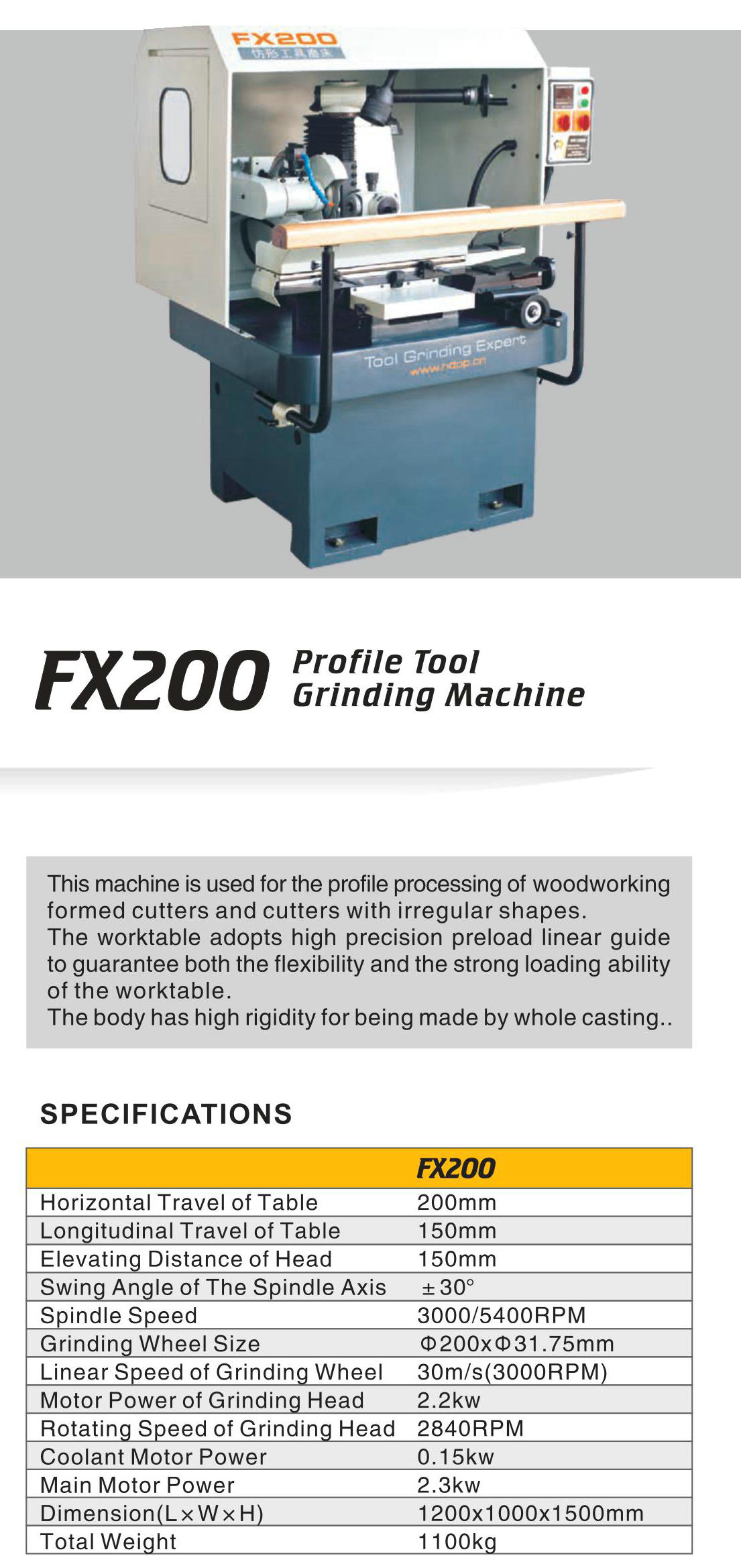 PROFLE TOOL GRINDING MACHINE FX200
