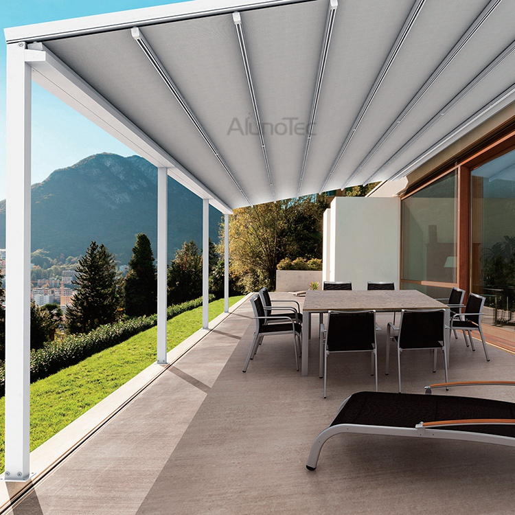PVC Retractable Roof Aluminum Pergola   Buy Pvc Retractable Roof, Pergola  Retractable, Motorized Retractable Awning Product On AlunoTec