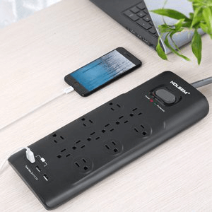 HOLSEM Surge Protector 12 Outlets with 3 USB Ports 6 ft cord Power Strip, Black