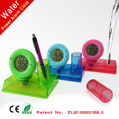 Office Desktop Water Power Alarm Clock Calender Temerature with Pen Holder XD-188