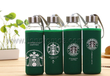 Coffee Restaurant Promotional Gift Portable Glass Bottle with Neoprene Cover