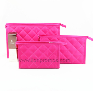 Lady Fashional Gift Quilting Cosmetic Bag with Makeup Mirror