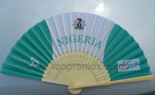 Nigerial Election Campaign Promotional Gift Traditional Chinese Bamboo Paper Fan