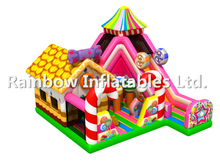RB04053(9x8x6.5m)Inflatable hot colorful candy series theme funcity with slides