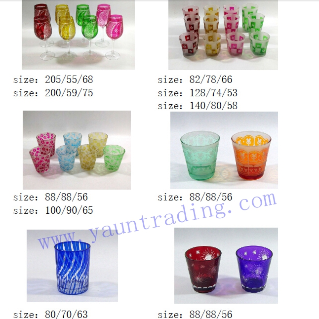 Yayun hand etched glass drinkware