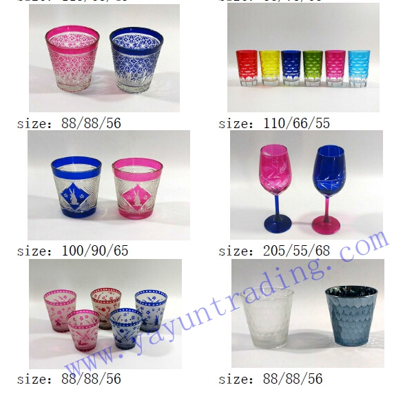 colored glass tea cup