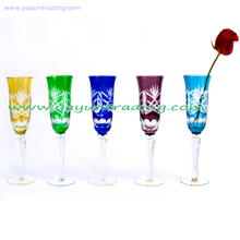 Delicate Hand Engraved Long-stem Glass Champagne Flute for Wedding And Party