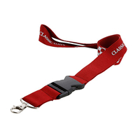 Custom red polyester white logo print lanyard with black plastic buckle and metal swivel hook for employee